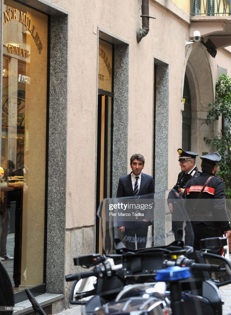 An external view of the watchmaker Franck Muller store on the Via della Spiga street after the robbery on May 21, 2013 in Milan, Italy. The thieves launched molotov cocktails in an attempt to stop pursuers with two people injured during the raid. The value of the loot has not been revealed.