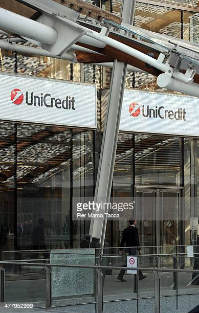 An external view of Unicredit Bank headquarters on March 11 2014 in Milan Italy Unicredit Italy's largest bank reported a huge fourthquarter loss of...