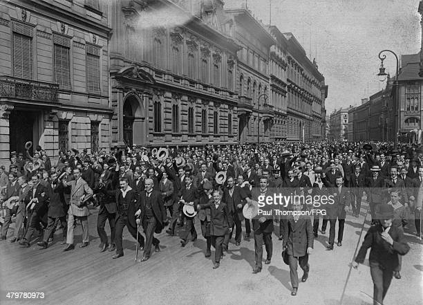 An exuberant crowd gathers outside the Austrian embassy in Berlin upon news of the outbreak of war with Serbia which led to World War I 25th July...