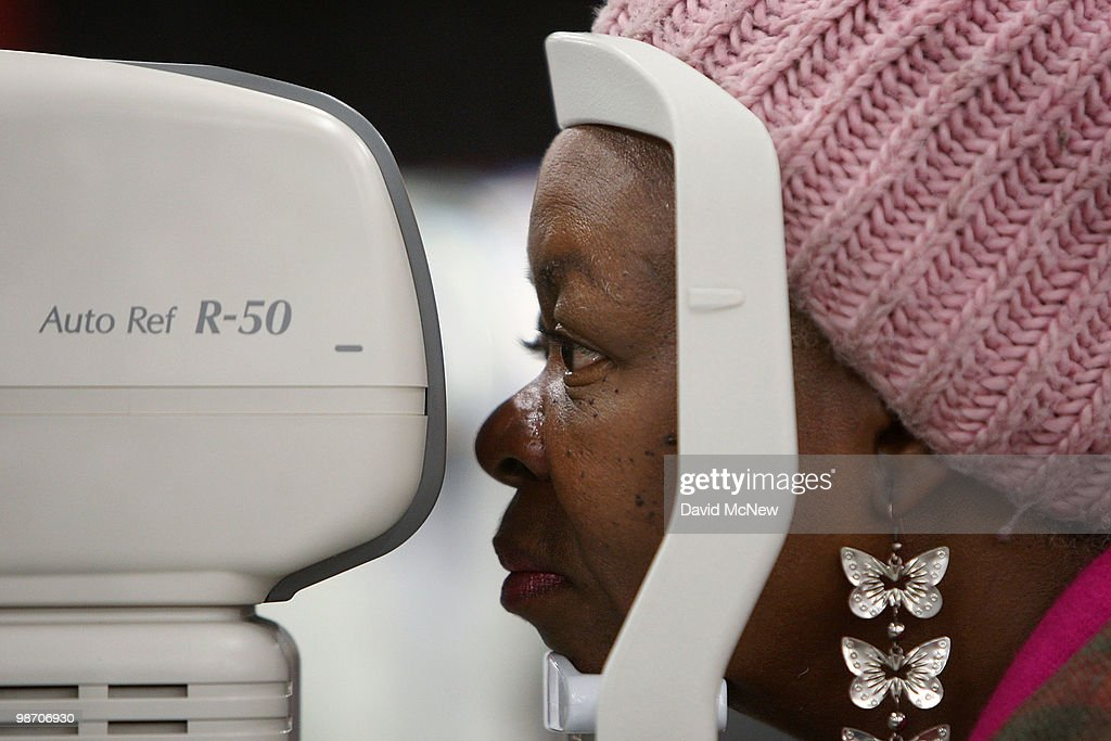 An eye exam is performed at the Remote Area Medical (RAM) clinic at the Los Angeles Sports Arena on April 27, 2010 in Los Angeles, California. More than 6,000 people were given wristbands over the weekend, some of them waiting overnight, to receive the free medical, dental and vision care. RAM hopes to treat 8,400 patients at the event which runs from April 27 to May 3. A Los Angeles-area RAM event in 2009 provided more than 14,500 services to approximately 6,344 patients. Los Angeles is reportedly home to 2.2 million uninsured people.