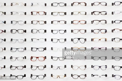 An eyeglasses display in an eyewear store