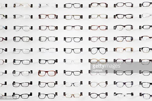 An eyeglasses display in an eyewear store