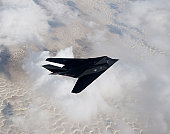 An F-117 Nighthawk from the 8th Fighter Squadron flies a training sortie out of Holloman Air Force Base, New Mexico.