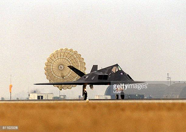 An F117 Stealth Fighter From The 8Th Fighter Squadron At Holloman Air Force Base NM Touches Down At Aviano Air Base Italy February 21 1999 If Needed...