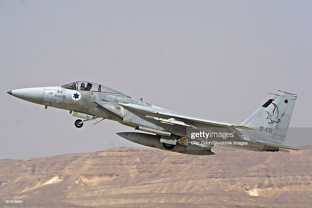 An F-15C Baz of the Israeli Air Force takes off from Ovda Air Force Base, Israel. Note the 2 kill marks on its nose.