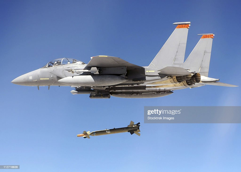 An F-15E Strike Eagle drops a GBU-28 bomb during a Combat Hammer mission.