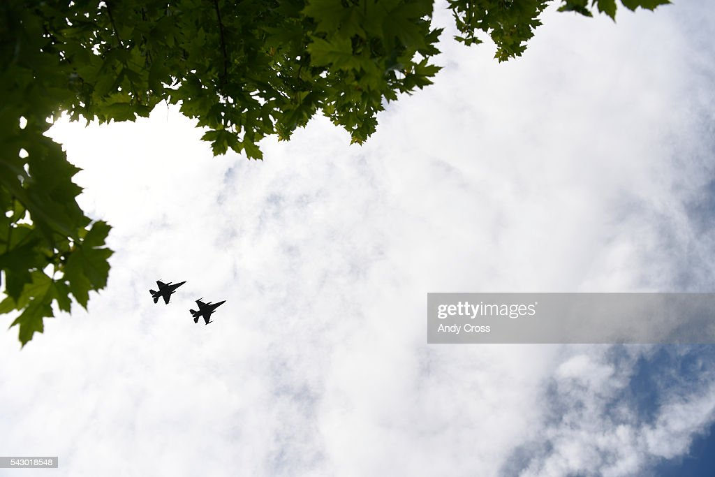 An F-16 fly-by during the Missing in America Project internment cremated remains for 30 WWII, Korea, and Vietnam Veterans at the Ft. Logan National Cemetery of June 25, 2016.