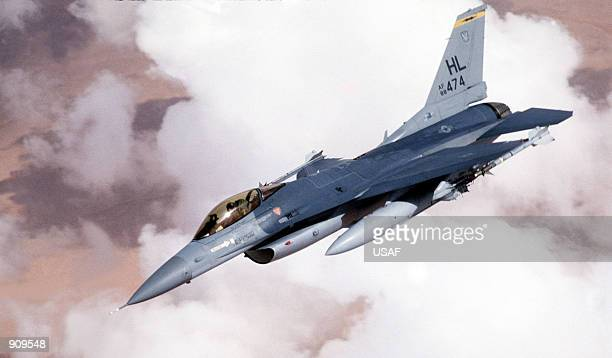 An F16C Fighting Falcon of the 388th Tactical Fighter Wing flies over the Red Sea during Operation Desert Storm