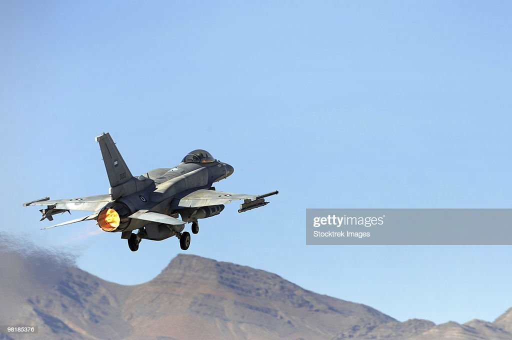 An F-16E from the United Arab Emirates taking off for a training mission at Nellis Air Force Base, N
