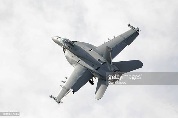 An F18 Fighter plane takes off at the Farnborough Airshow on July 20 2010 in Farnborough England The Farnborough International Airshow is the biggest...