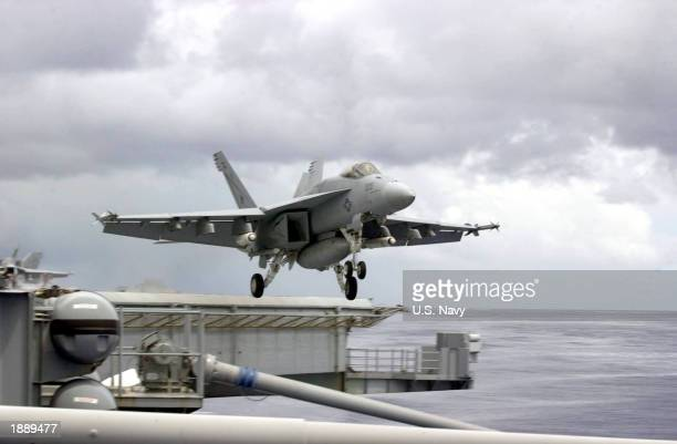 An F18 Super Hornet takes off from the flight deck of USS Mimitz on March 31 2003 in the Indian Ocean The Nimitz and her battle group are currently...