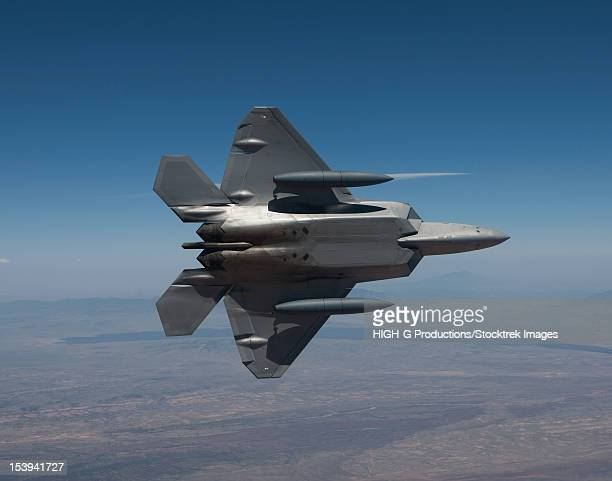 An F-22 Raptor from the 49th Fighter Wing maneuvers while on a training mission out of Holloman Air Force Base, New Mexico.