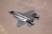 An F-35 Lightning II flies over Edwards Air Force Base, California.
