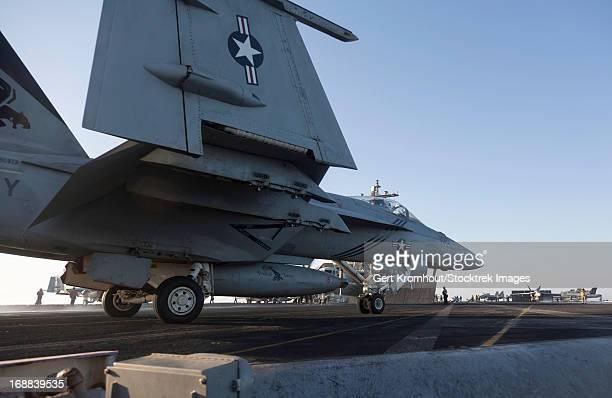 An F/A-18E Super Hornet during flight operations on USS Dwight D. Eisenhower.