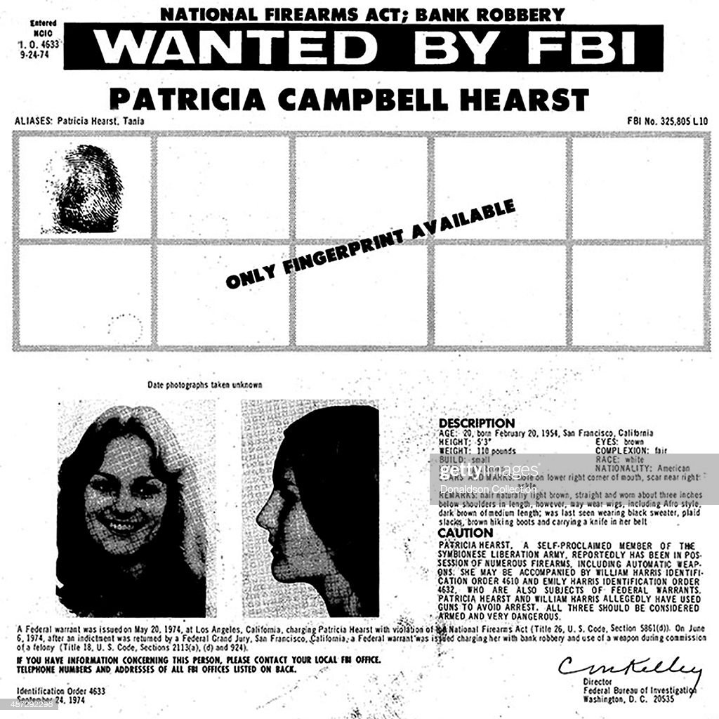 An FBI wanted poster for heiress Patty Hearst for violation of the National Fireams Act on September 24, 1974.