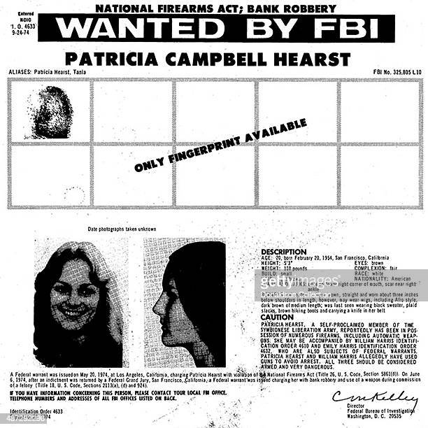 An FBI wanted poster for heiress Patty Hearst for violation of the National Fireams Act on September 24 1974