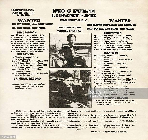 An FBI wanted poster showing American bank robbers and lovers Clyde Barrow and Bonnie Parker popularly known as Bonnie and Clyde May 21 1934