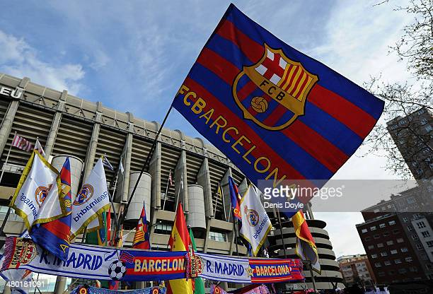 An FC Barcelona flag flies at a merchandise stall prior to the La Liga match between Real Madrid CF and FC Barcelona at estadio Santiago Bernabeu on...