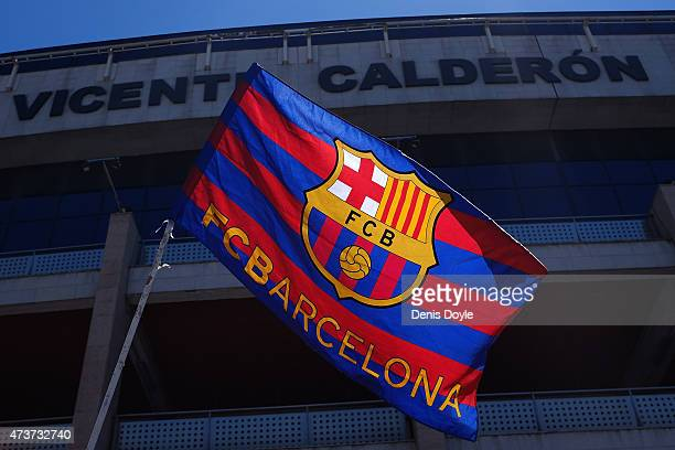 An FC Barcelona flag flies outside the Vicente Calderon stadium ahead of the La Liga match between Club Atletico de Madrid and FC Barcelona at...
