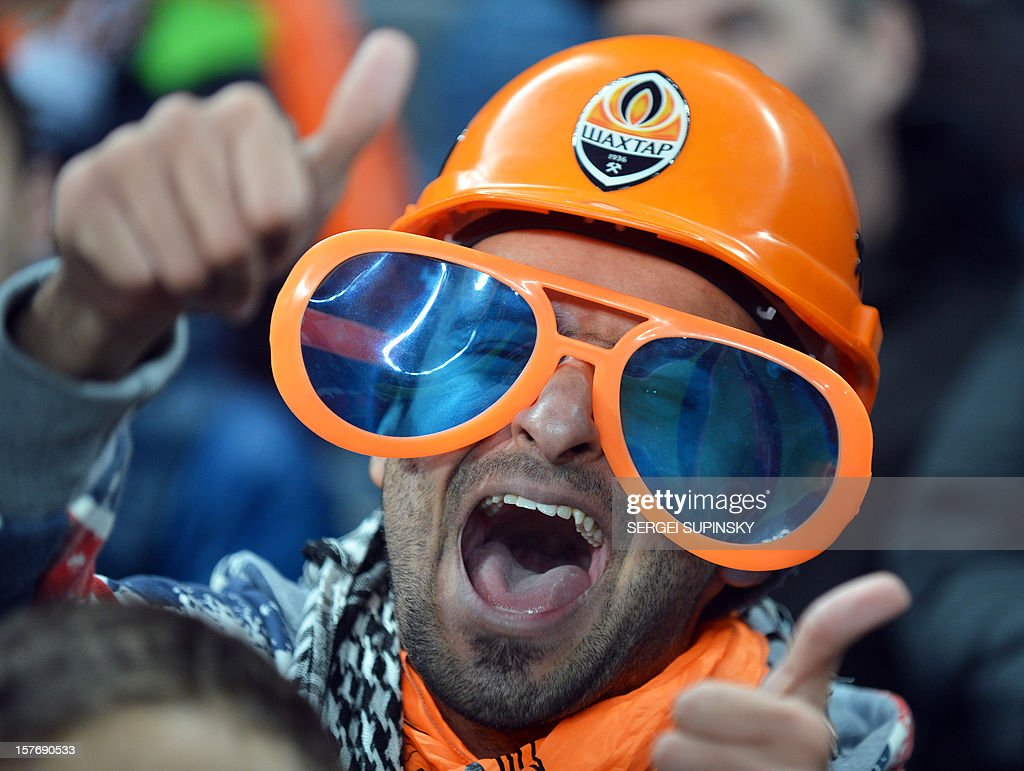 An FC Shakhtar fan reacts during the UEFA Champions League, Group E, football match between FC Shakhtar and Juventus, in Donetsk on December 5, 2012. Juventus won 1-0.