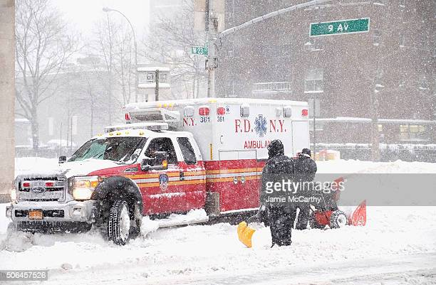 An FDNY ambulance gets stuck in the snow in Chelsea during blizzard conditions on January 23 2016 in New York United States Over a foot of snow has...