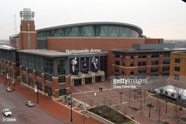 An general exterior view of the Nationwide Arena site of the first round games of the NCAA Division I Men's Basketball Tournament on March 18 2004 in...