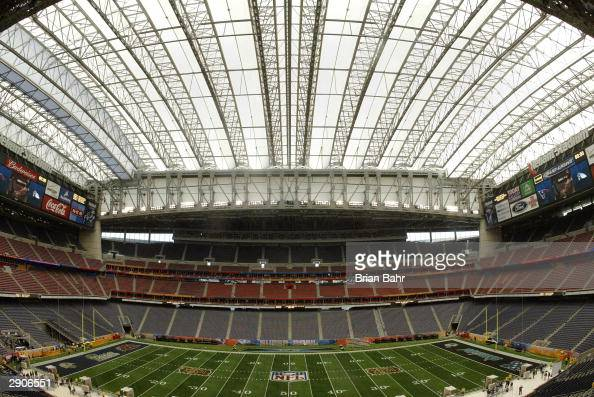 An general view as the roof of Reliant Stadium is closed for cooler temperatures during final preperations on Media Day January 27 2003 for Super...