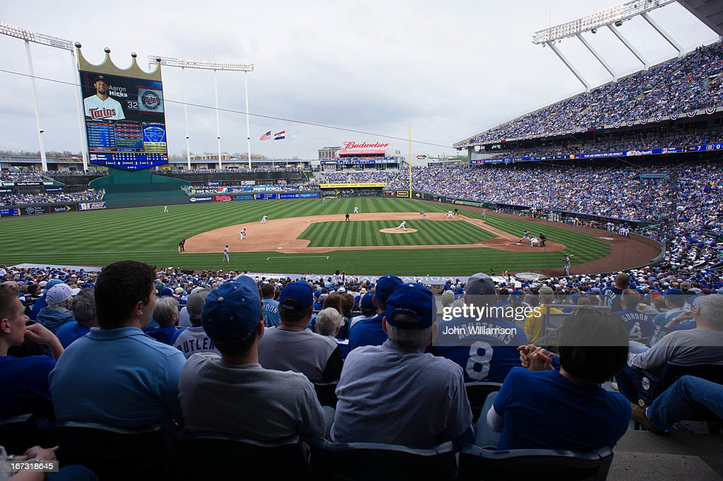 An general view of Kauffman Stadium during the game between the Kansas City Royals and the Minnesota Twins on April 8, 2013 at Kauffman Stadium in Kansas City, Missouri. The Kansas City Royals defeated the Minnesota Twins 3-1.