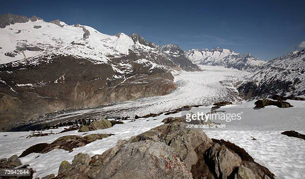 An general view of the Aletsch Glacier seen from Moosfluo point south to north on April 21 near Brig Switzerland The Aletsch Glacier is the largest...