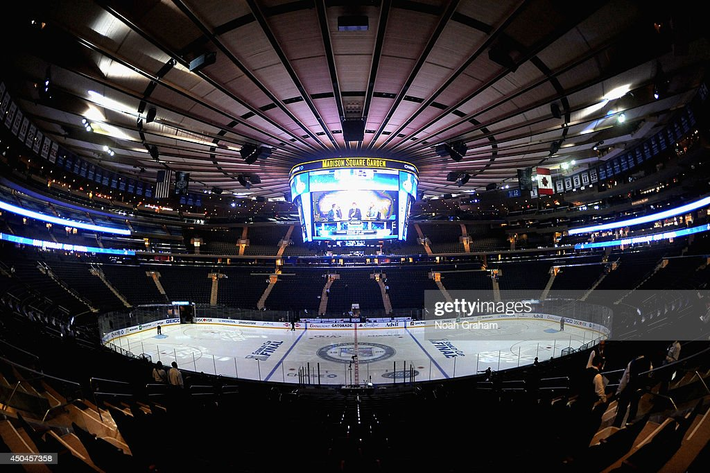 An general view of the ice before Game Four of the 2014 Stanley Cup Final between the Los Angeles Kings and the New York Rangers at Madison Square...