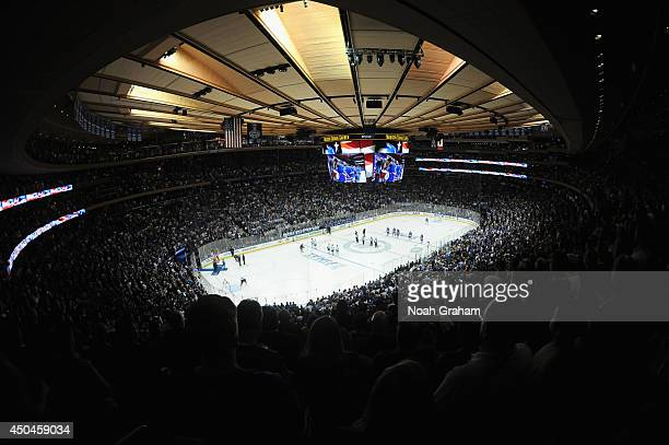 An general view of the ice during the national anthem before Game Four of the 2014 Stanley Cup Final between the Los Angeles Kings and the New York...