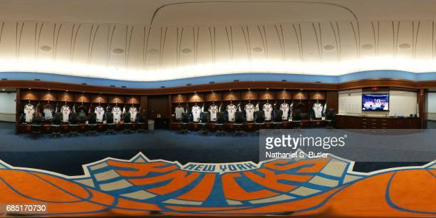 An general view of the locker room of the New York Knicks on April 4 2017 at Madison Square Garden in New York New York NOTE TO USER User expressly...