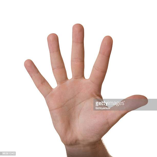An hand giving a high five on a white background
