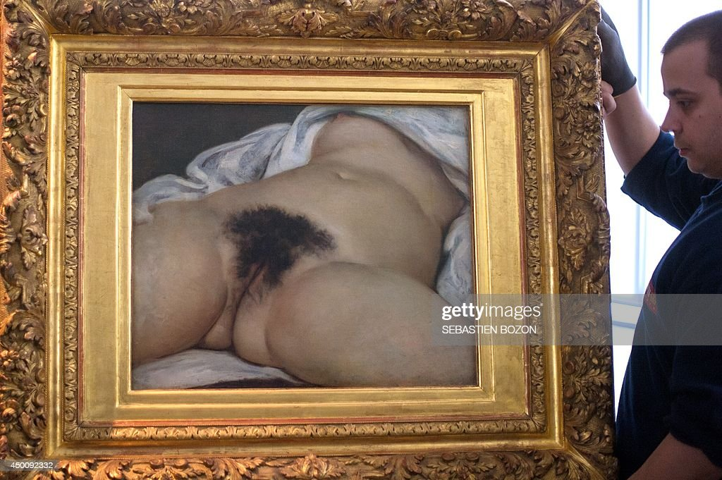 An haulier prepares to install the Gustave Courbet's canvas 'L'origine du monde' at the Courbet museum on June 3 in Ornans eastern France The canvas...