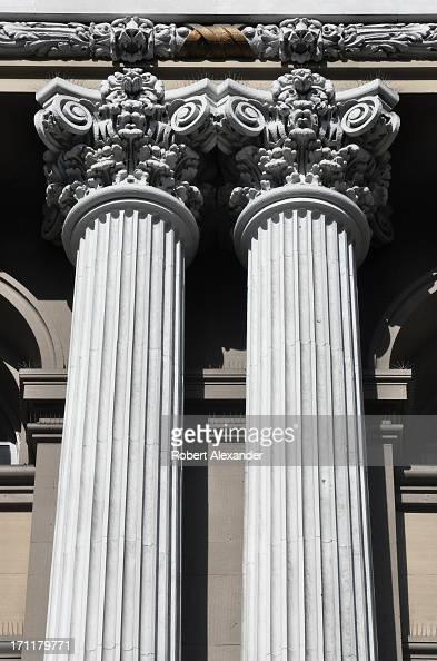 An historic building in San Francisco features a facade with classic Corinthian columns