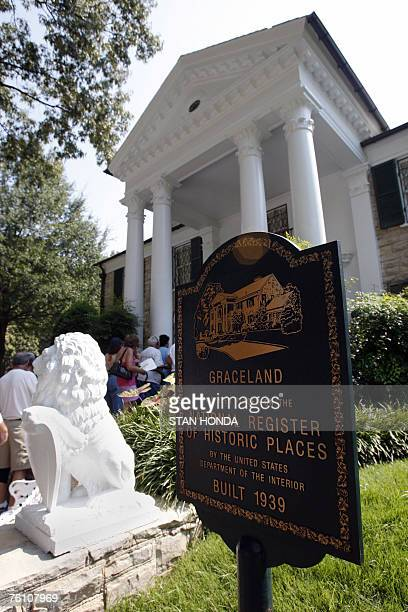 An historic marker is seen in front of Graceland Mansion the home of Elvis Presley 15 August 2007 in Memphis Tennessee Elvis fans from around the...