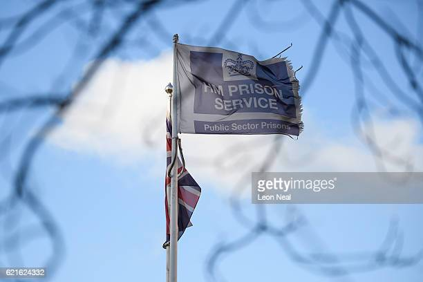 An HM Prison Service flag flies outside HMP Bedford on November 7 2016 in Bedford England Reports suggest between 150 and 230 prisoners were involved...
