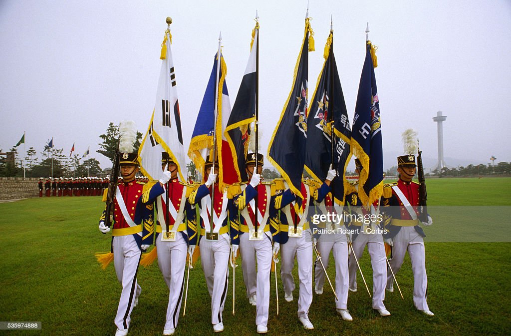 Korea Military Academy Cadets with Flags