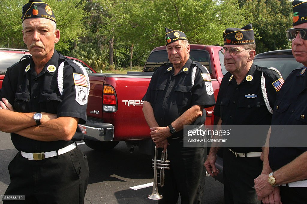An honor guard from American Legion post 103 gets ready to attend the a memorial service for Airborne soldier Michael Woodlif who was killed in the...