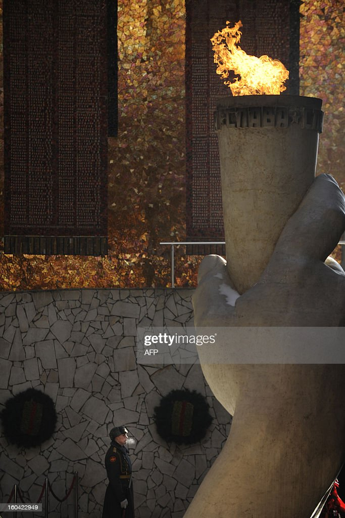 An honour guard stands at the eternal flame in the memorial on Mamayev Hill built to honour those who died in the Battle of Stalingrad during the World War II, in the Russian city of Volgograd, formerly Stalingrad, on January 31, 2013. In a new display of national pride and reminder of its status as a world power, Russia remembers this weekend the Red Army victory in the battle of Stalingrad over invading Nazi forces, one of the bloodiest battles in human history.