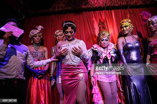 An host introduces drag queens who will be performing during the 5th anniversary celebrations of Bali Joe Bar one of the most famous gay bars in Bali...