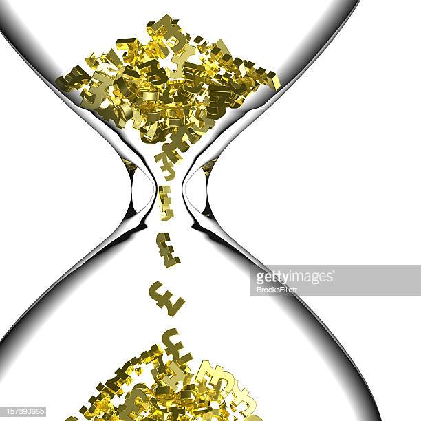 An hourglass with money passing through