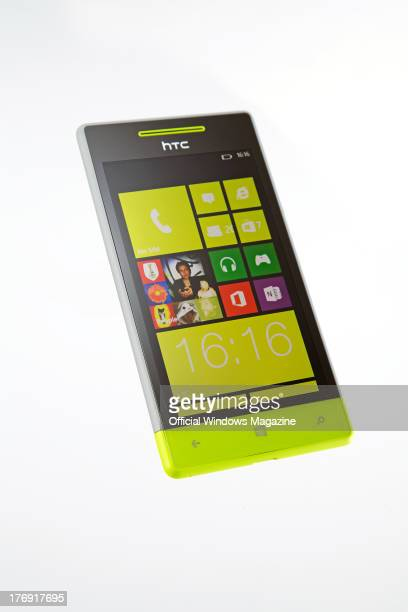 An HTC 8S smartphone photographed during a studio shoot for Official Windows Magazine January 16 2013