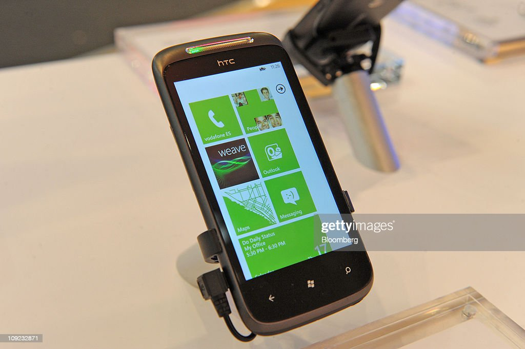 An HTC Corp. 7 Mozart smartphone is seen on display at the Mobile World Congress in Barcelona, Spain, on Thursday, Feb. 17, 2011. The Mobile World Congress takes place at Fira de Barcelona conference center Feb. 14-17. Photographer: Denis Doyle/Bloomberg via Getty Images