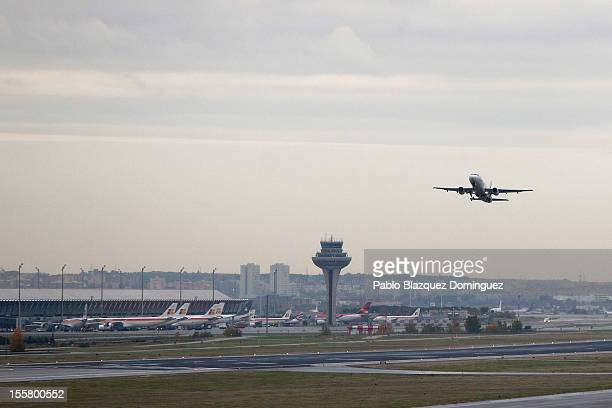 An Iberia plane takes off from Barajas Airport on November 8 2012 in Madrid Spain Spanish airline Iberia which partnered with British Airways last...