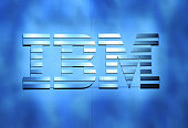 An IBM logo is shown on stage during a keynote address by IBM Chairman President and CEO Ginni Rometty at CES 2016 at The Venetian Las Vegas on...