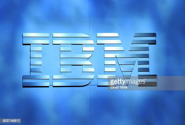 An IBM logo is shown onstage during a keynote address by IBM Chairman President and CEO Ginni Rometty at CES 2016 at The Venetian Las Vegas on...