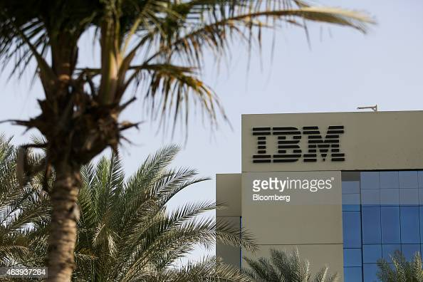 An IBM logo sits on display outside the offices of International Business Machines Corp in the media city district of Dubai United Arab Emirates on...