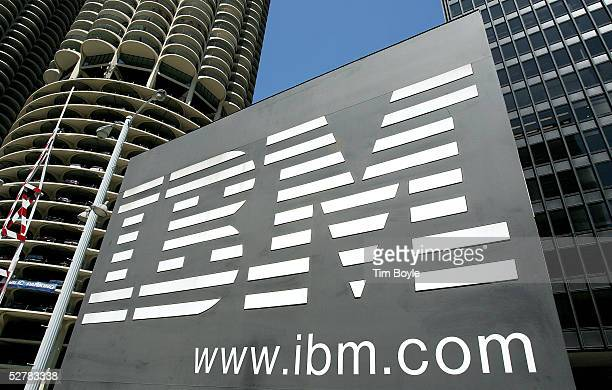 An IBM sign stands outside an IBM building May 10 2005 in downtown Chicago Illinois IBM has recently announced job cuts in its European operation of...