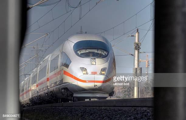 An ICE 3 of Deutsche Bahn AG German Railway Company runs on the Highspeed line Cologne Frankfurt